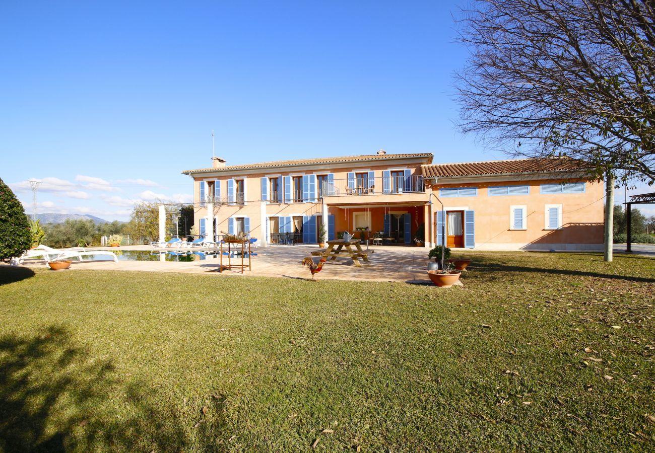 4 habitaciones dobles y 2 individuales, 6 baños, gimnasio, piscina, jardín, barbacoa, wifi, vistas a la Serra de Tramuntana